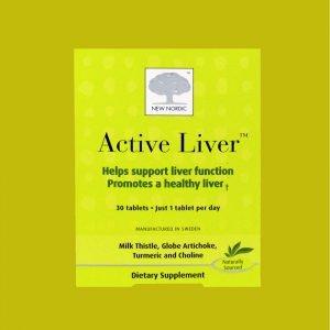 Active Liver frá New Nordic styrkir starfssemi lifrar - eykur niðurbrot fitu í lifrinni. Ætisþistillinn